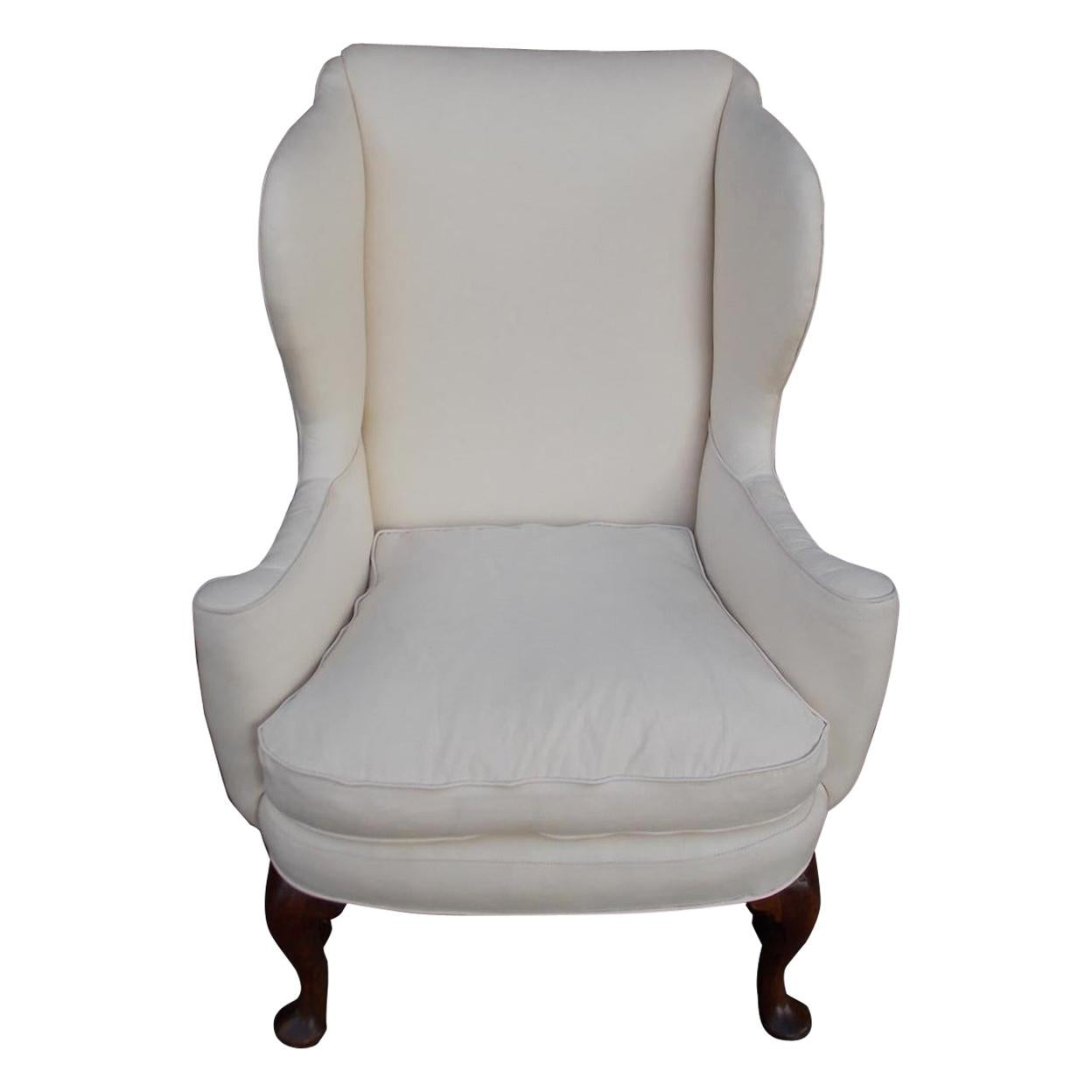 American Queen Anne Walnut Upholstered Wing Back Chair, Rhode Island, Circa 1740