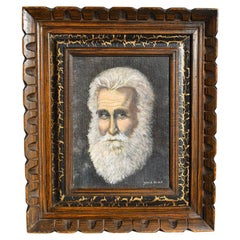 Framed Portrait Painting of a Man with Beard by American Artist Genie Brock