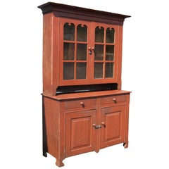 American Red Painted Two Part Cupboard