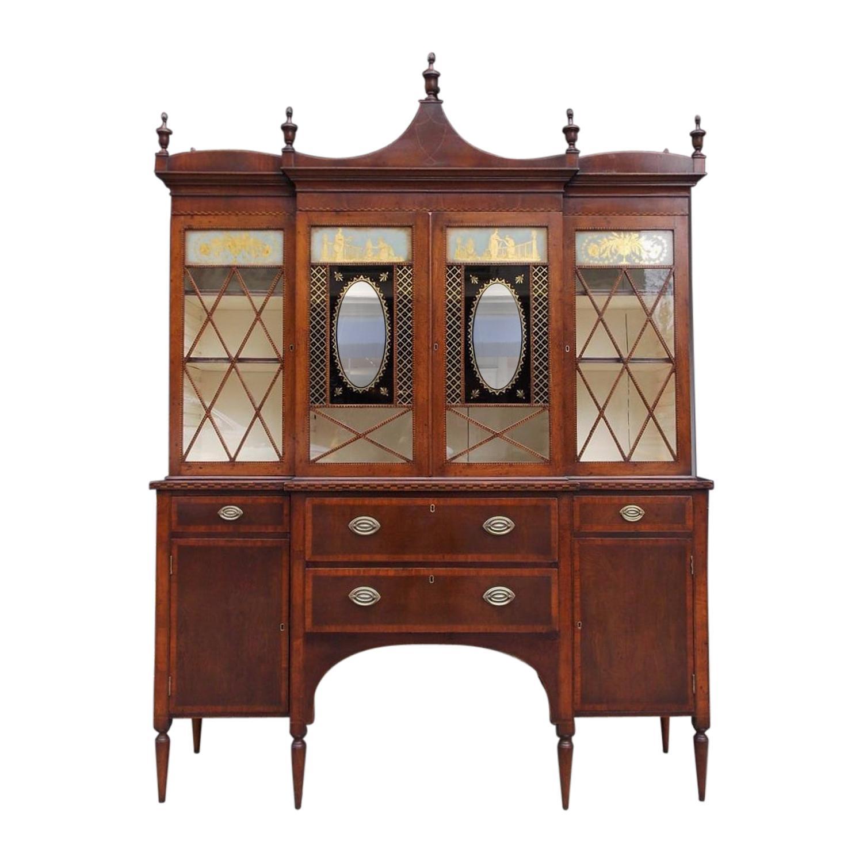 American Regency Mahogany Églomisé and Inlaid Breakfront Bookcase C. 1790 Mass