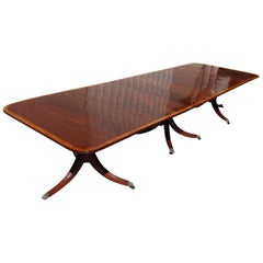 American Regency Mahogany Satinwood Banded Triple Pedestal Dining Table