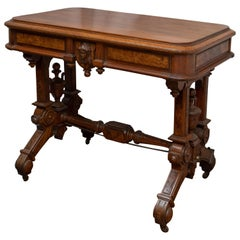 American Renaissance Revival Victorian Walnut and Burl Library Table, circa 1870
