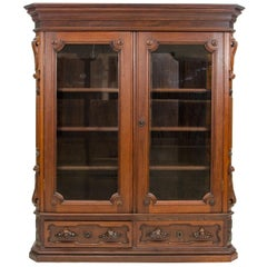American Renaissance Victorian Two-Door Walnut Bookcase or Display Cabinet