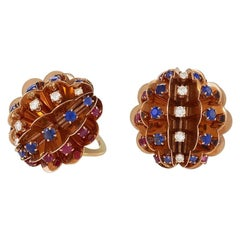 American Retro Gold Earrings with Diamond, Sapphire and Ruby by Marianne Ostier