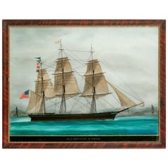 American Reverse-Glass Painting of the Ship 'Hurricane' of Boston