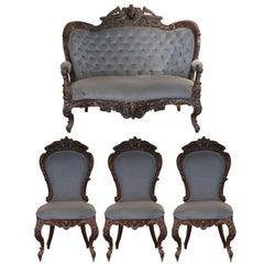 American Rococo Renaissance Revival Four-Piece Mahogany Parlour Set