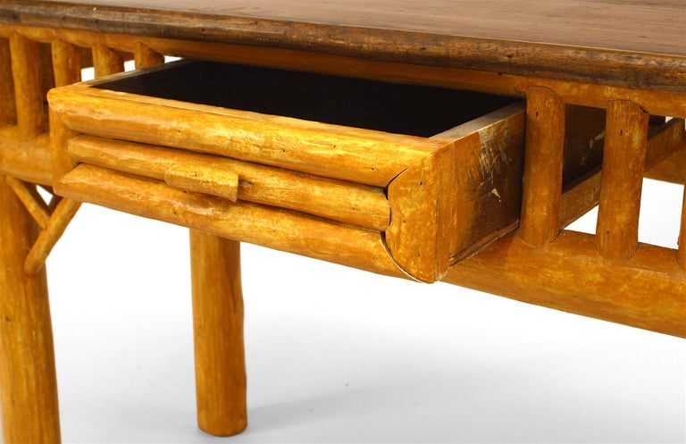 American Rustic Adirondack Painted Cedar Table Desk In Good Condition For Sale In New York, NY