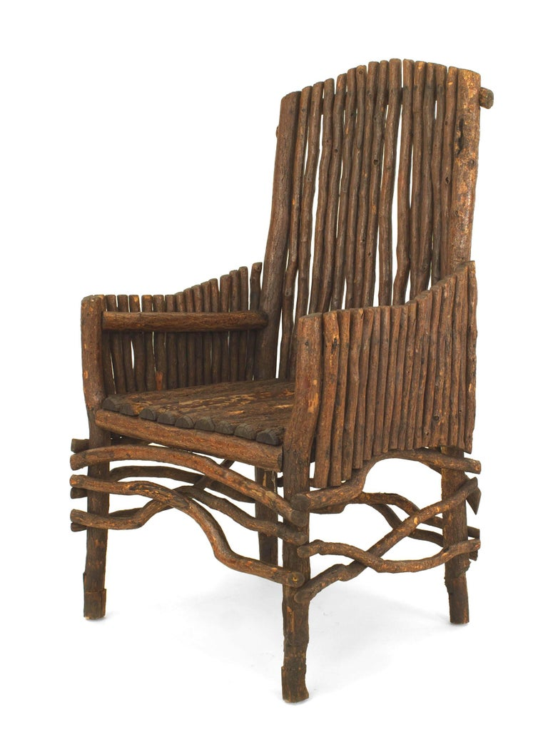 American Rustic Adirondack Slat Twig Design Armchair In Good Condition For Sale In New York, NY
