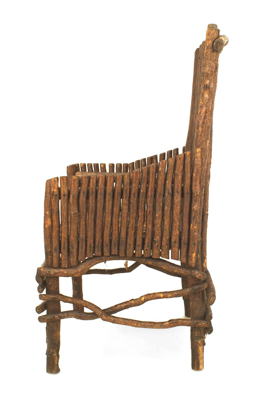 Early 20th Century American Rustic Adirondack Slat Twig Design Armchair For Sale