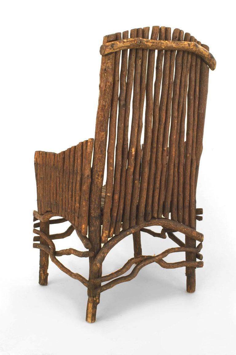 American Rustic Adirondack Slat Twig Design Armchair For Sale 1