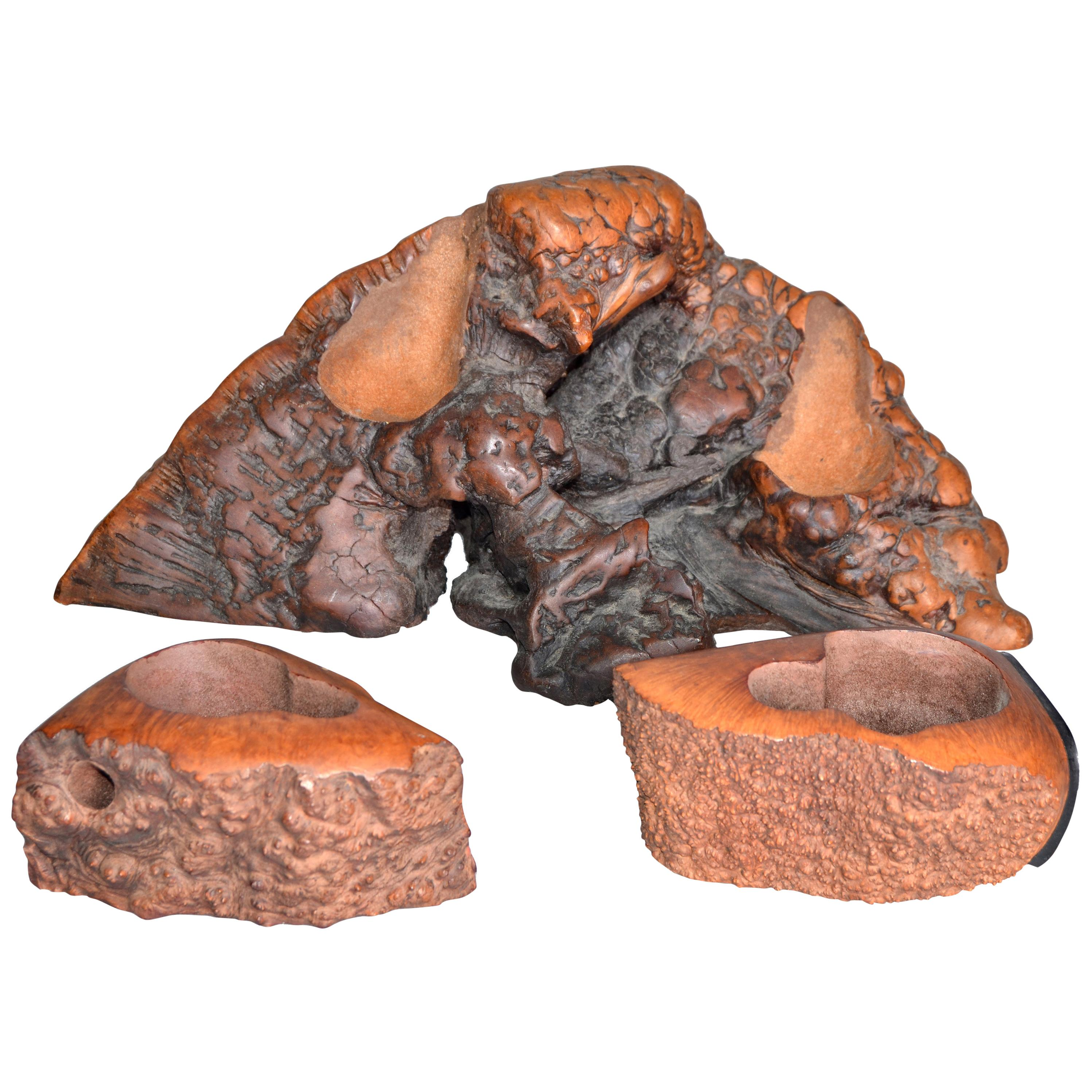 American Rustic Country Style Hand Carved Burl Wood Pipe Holders, Set of 3
