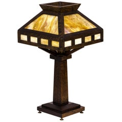 American Rustic Mission Style Oak Table Lamp, circa 1920, USA