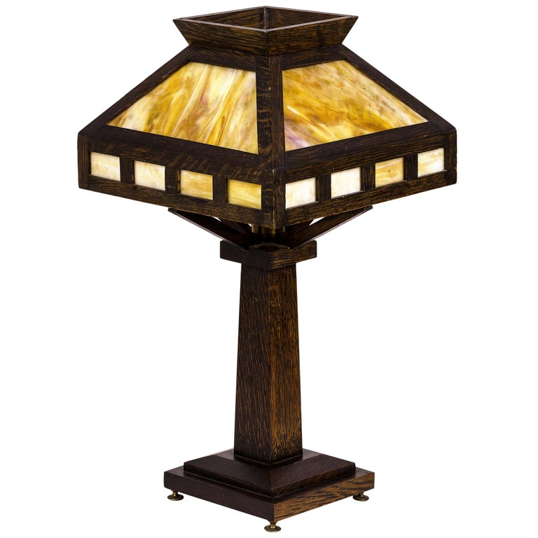 American Rustic Mission Style Oak Table Lamp, circa 1920, USA For Sale