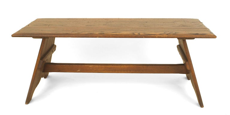 American Rustic Old Hickory Mission style rectangular coffee table having a pair of shaped pedestal base sides connected with a stretcher.   Since 1899 Old Hickory Furniture has been handcrafted in Central Indiana using the remarkable hickory