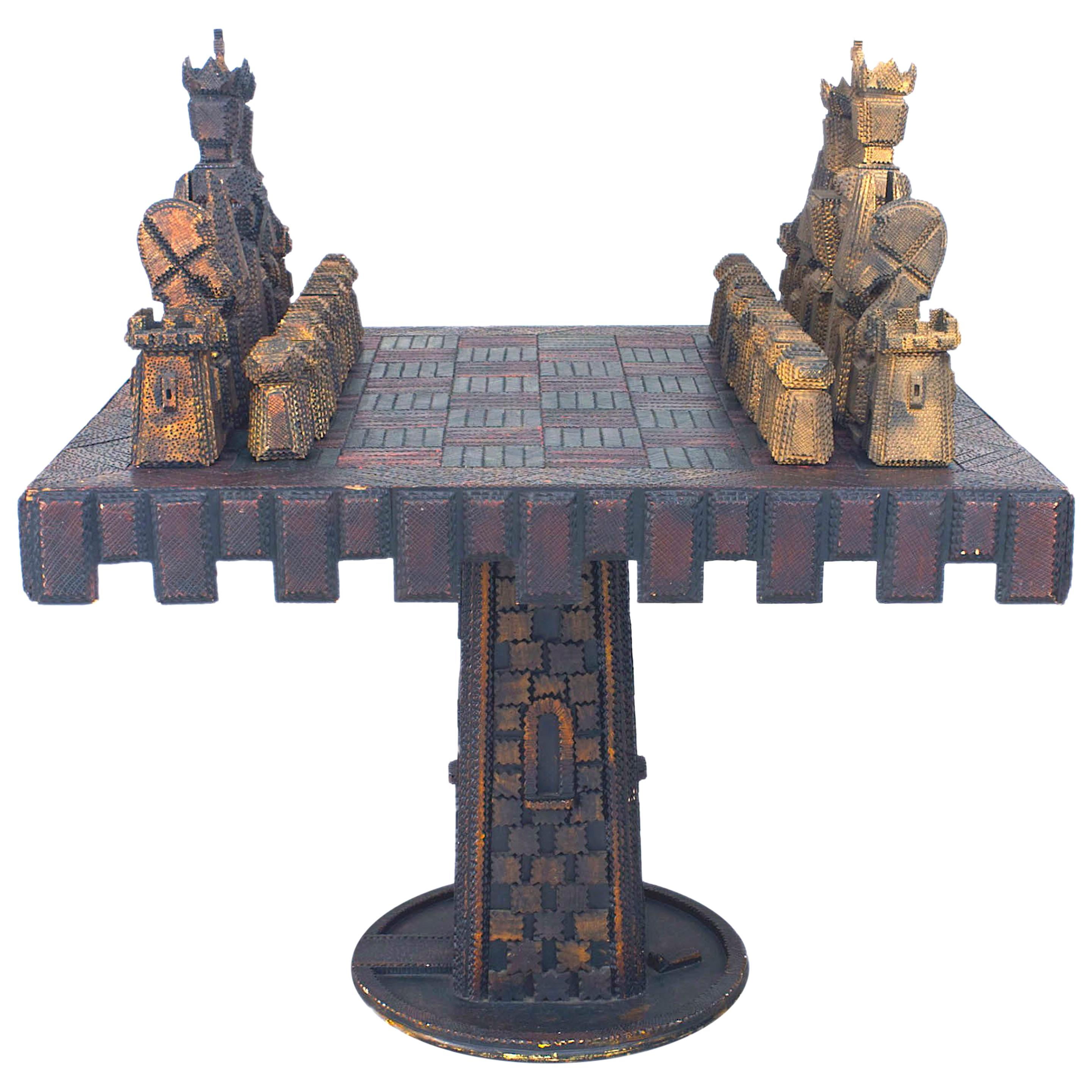"American Rustic ""Tramp Art"" Style Chess Game Table"