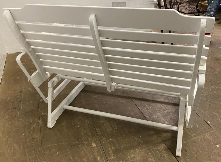 20th Century American Rustic White Painted Glider Loveseat For Sale