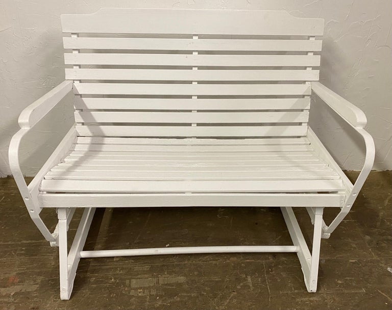 Wood American Rustic White Painted Glider Loveseat For Sale