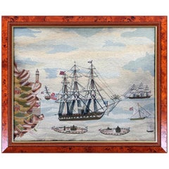 American Sailor's Wool Work Depicting Ten Naval Vessels, 1865-1870