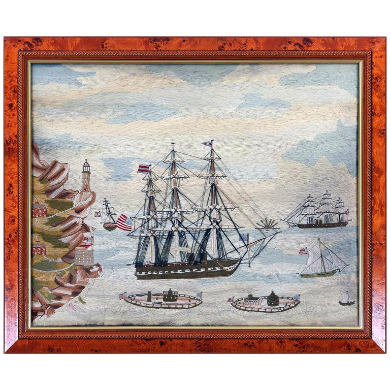 American Sailor's Wool Work Depicting Ten Naval Vessels, 1865-1870 For Sale
