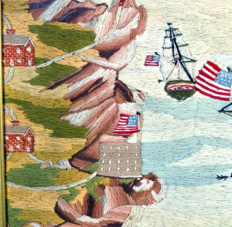 American Sailor's Wool Work Depicting Ten Naval Vessels, 1865-1870 For Sale 6