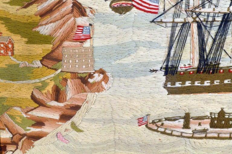 American Sailor's Wool Work Depicting Ten Naval Vessels, 1865-1870 For Sale 7