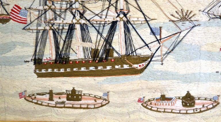 American Sailor's Wool Work Depicting Ten Naval Vessels, 1865-1870 For Sale 9