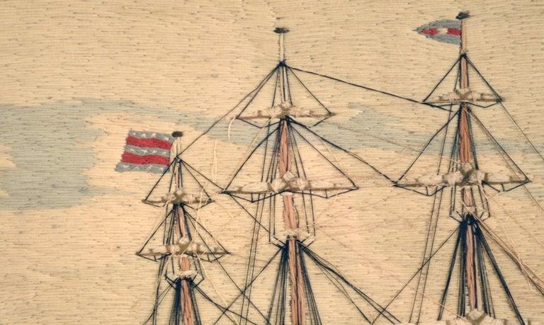 American Sailor's Wool Work Depicting Ten Naval Vessels, 1865-1870 For Sale 10