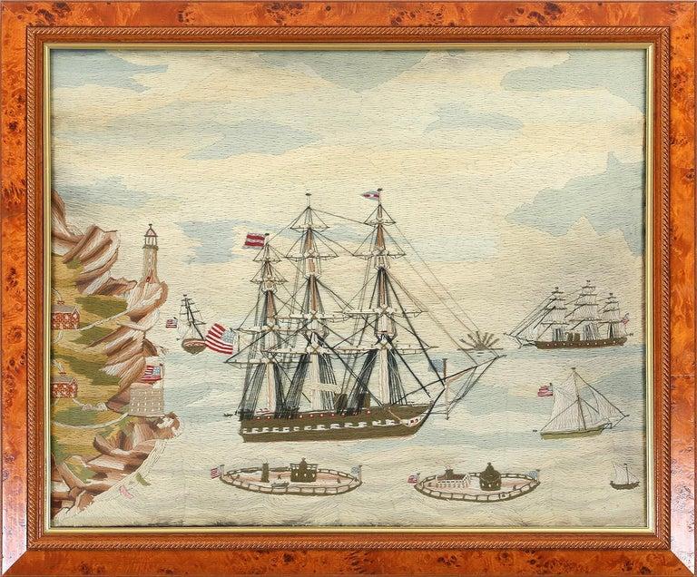 American Sailor's Wool Work Depicting Ten Naval Vessels, 1865-1870 For Sale 11