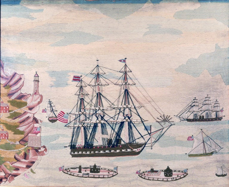 American Sailor's wool work depicting ten naval vessels, 1865-1870    A remarkable large American sailor's wool work or woolier depicting ten different American ships including two monitors probably in New England.  The scene depicted centers