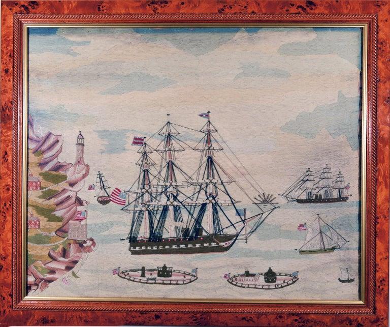 Folk Art American Sailor's Wool Work Depicting Ten Naval Vessels, 1865-1870 For Sale