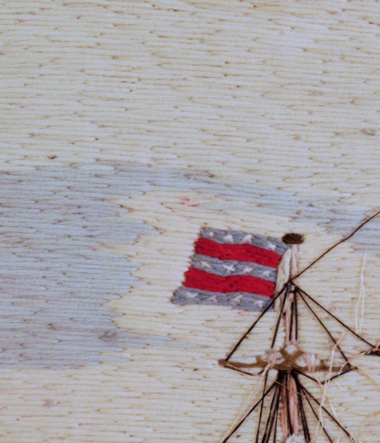 19th Century American Sailor's Wool Work Depicting Ten Naval Vessels, 1865-1870 For Sale