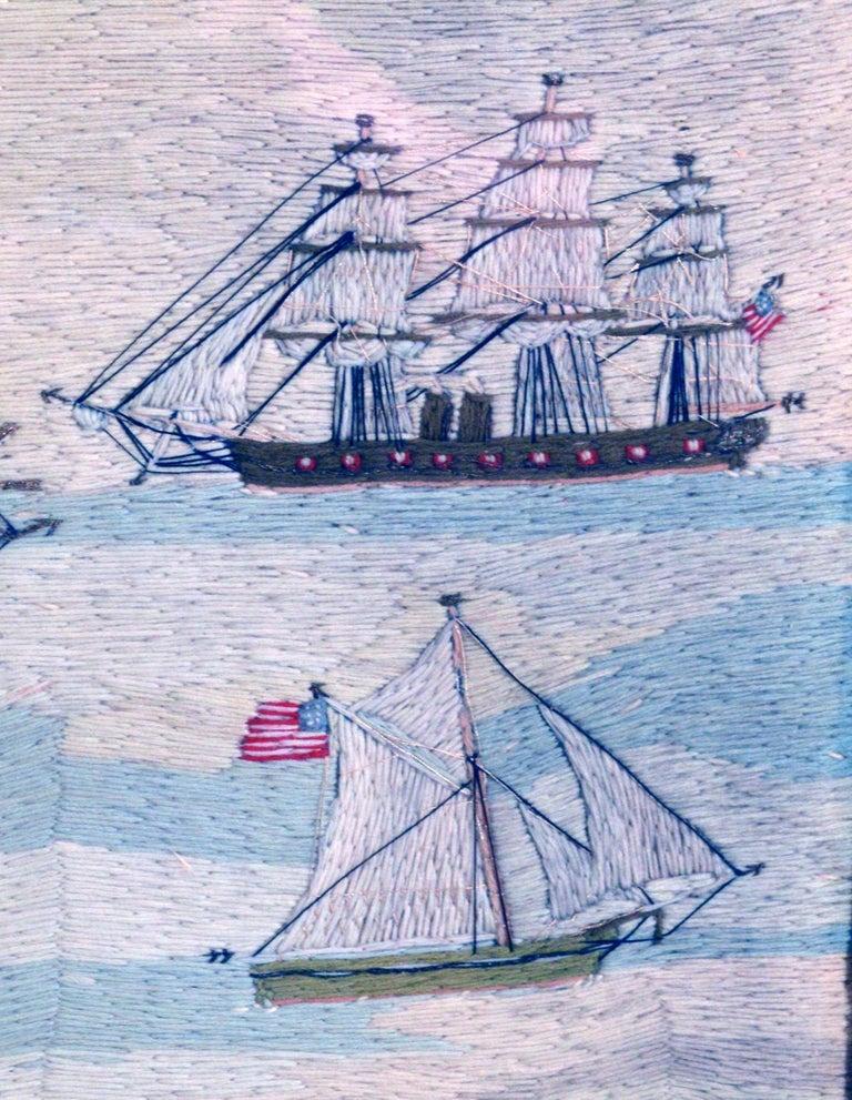 American Sailor's Wool Work Depicting Ten Naval Vessels, 1865-1870 For Sale 2