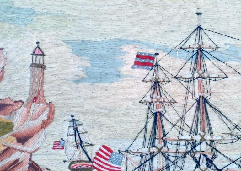 American Sailor's Wool Work Depicting Ten Naval Vessels, 1865-1870 For Sale 4