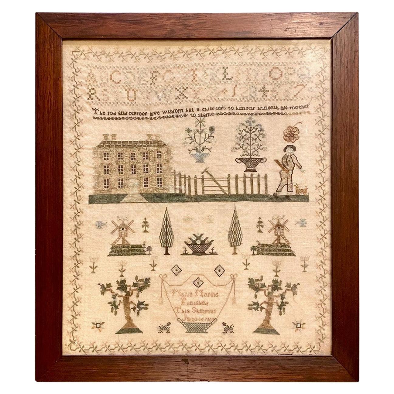 American Needlework Sampler by Maria Morris, 1827