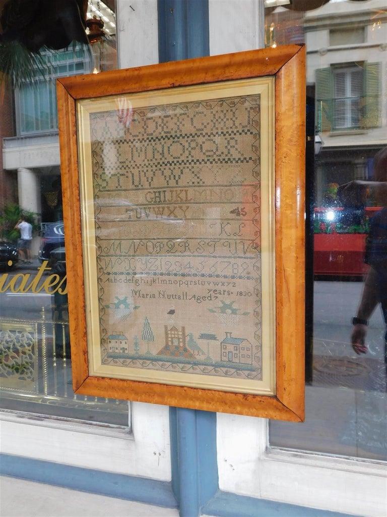 American Empire American Sampler Under Glass with the Original Gilt Birdseye Maple Frame, C 1830 For Sale