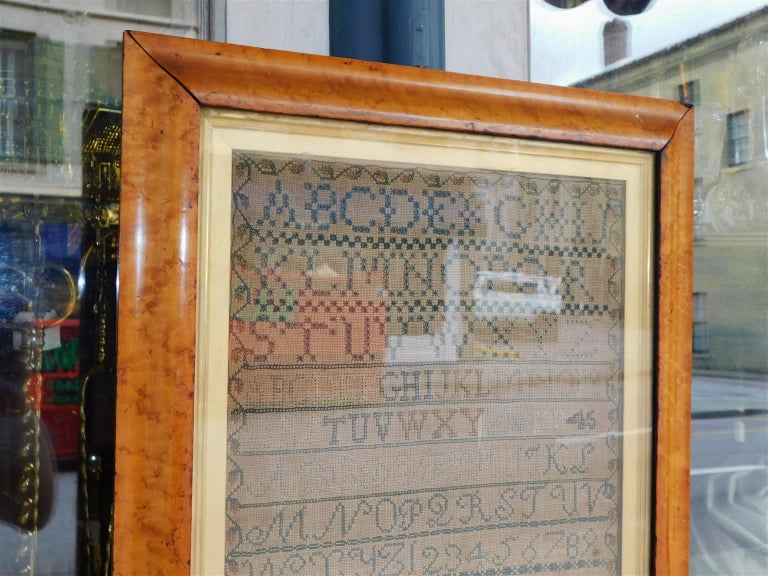 American Sampler Under Glass with the Original Gilt Birdseye Maple Frame, C 1830 In Excellent Condition For Sale In Charleston, SC