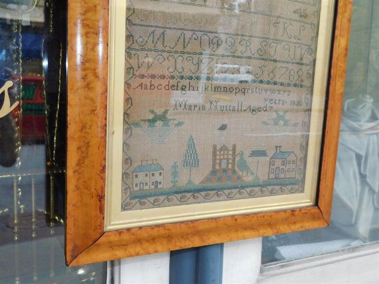 Linen American Sampler Under Glass with the Original Gilt Birdseye Maple Frame, C 1830 For Sale