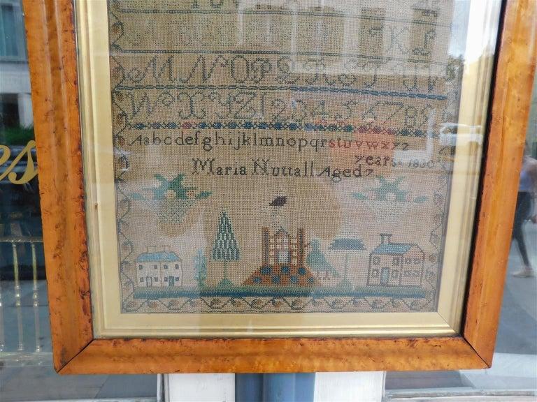American Sampler Under Glass with the Original Gilt Birdseye Maple Frame, C 1830 For Sale 1