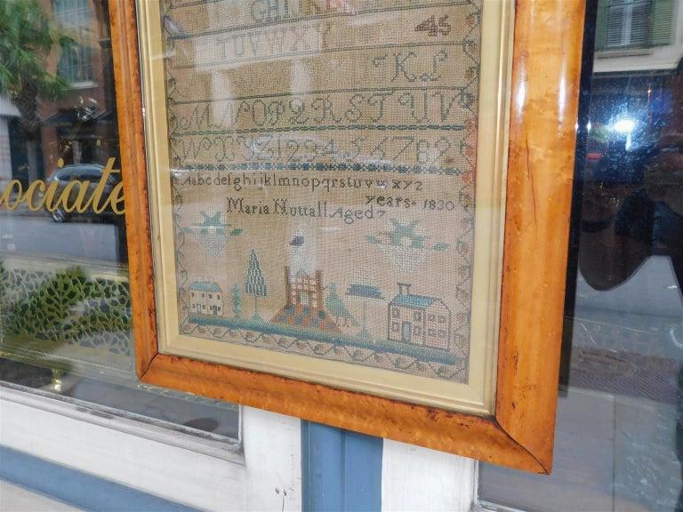 American Sampler Under Glass with the Original Gilt Birdseye Maple Frame, C 1830 For Sale 2