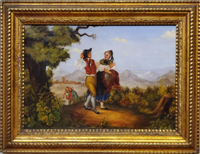 American School Landscape of an Italian View circa 1875.  Couples walk a path enjoying each other's company and the view of the Italian countryside.  Oil on canvas in what appears to be the original frame.