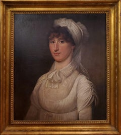 American School Oil Painting Portrait of a Woman circa 1815