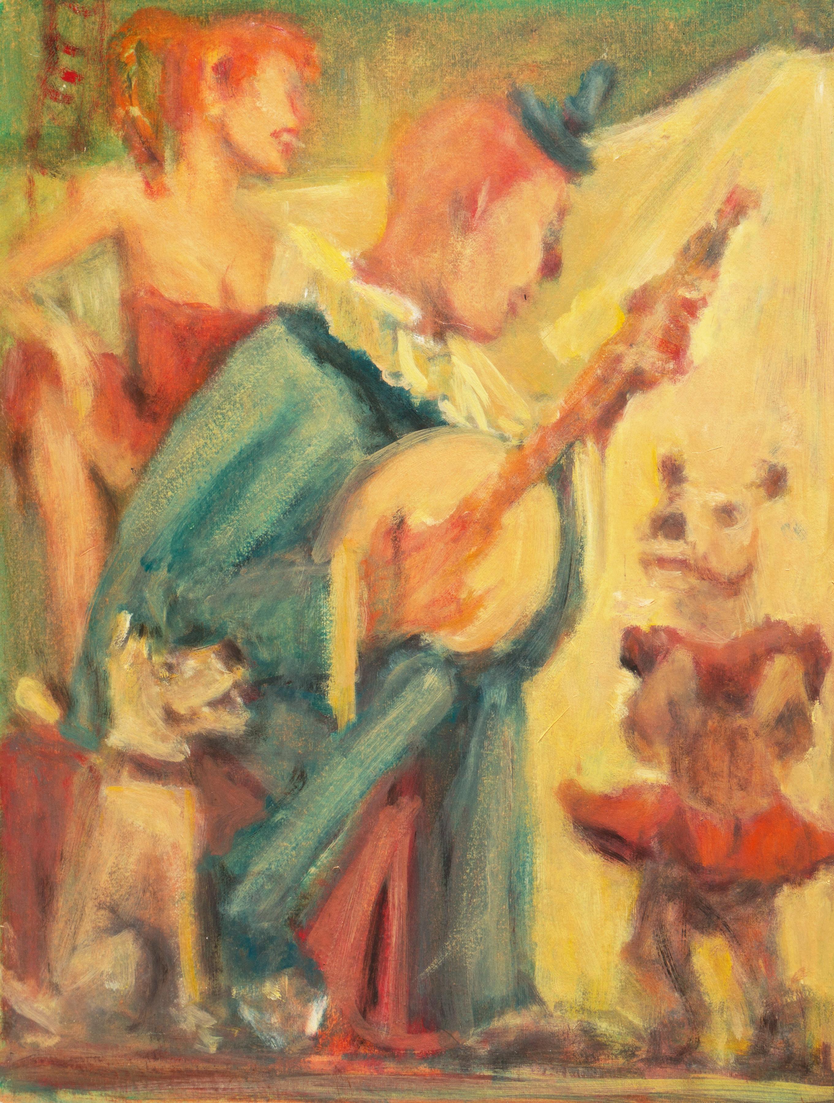 'Dancing Dogs', Impressionist Mid-century Circus Scene, Banjo Man, Acrobat