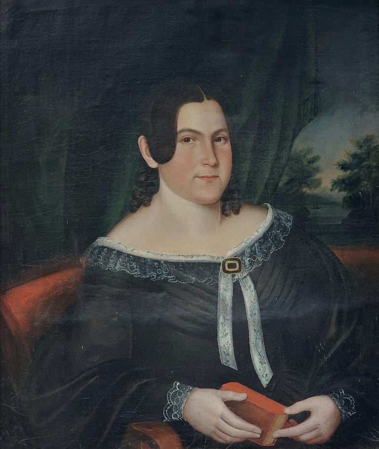 Mid 19th Century American School Portrait of a Woman For Sale 1