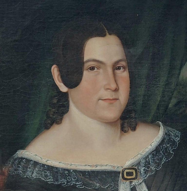 Mid 19th Century American School Portrait of a Woman For Sale 3