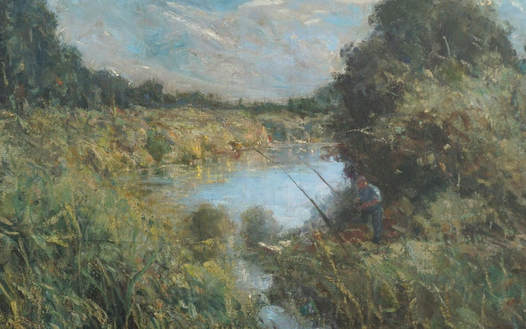 The Angler - Impressionist Landscape with Figure - Painting by American School