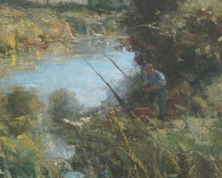 The Angler - Impressionist Landscape with Figure - American Impressionist Painting by American School