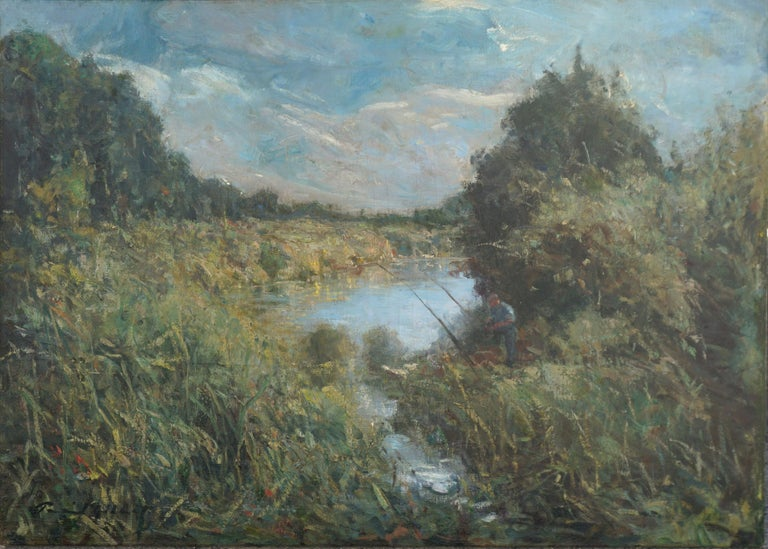 American School Landscape Painting - The Angler - Impressionist Landscape with Figure