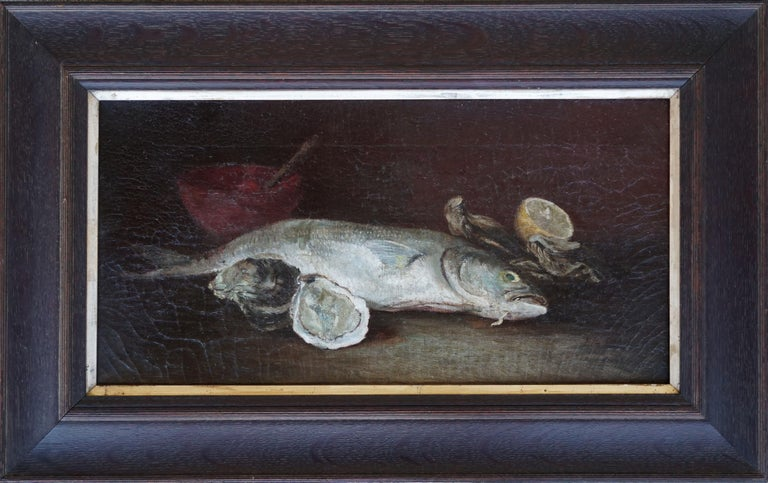 Rainbow Trout & Oyster Still Life, 1910 - Painting by American School (19/20)