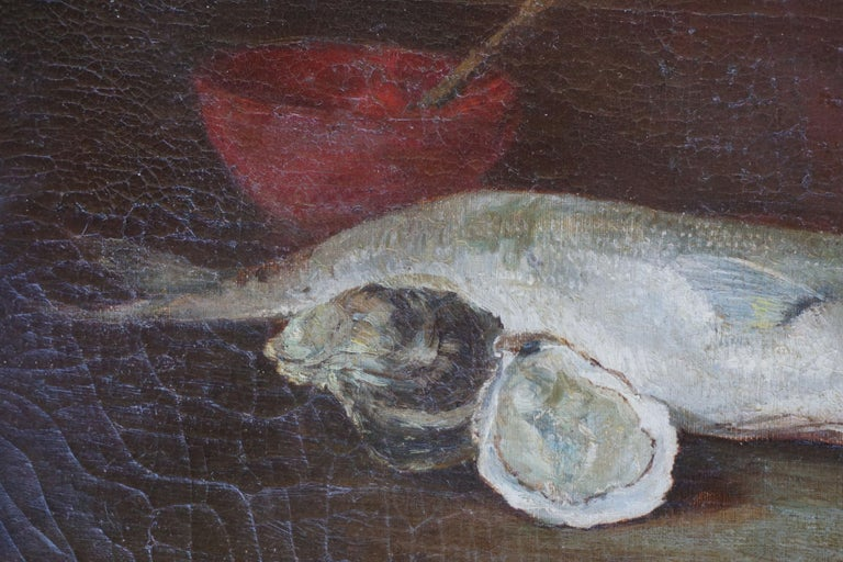 Rainbow Trout & Oyster Still Life, 1910 - Black Still-Life Painting by American School (19/20)