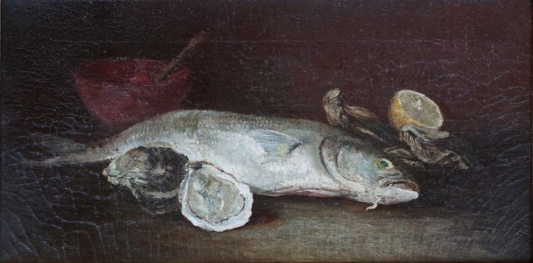 American School (19/20) Still-Life Painting - Rainbow Trout & Oyster Still Life, 1910
